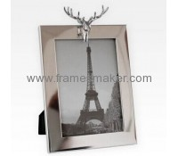 Silver photo frame with deer head decor MP-015