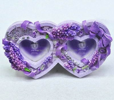 lavender double hearts poly resin photo frames RF-015